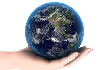 The earth planet in a womans hand photo