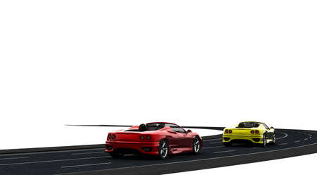 gp: Two cars, one red and one yellow on the road