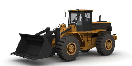 bagger: Black and yellow bulldozer isolated on white Stock Photo
