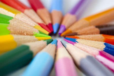 Close up of many colored pencils isolated Stock Photo - 7281041