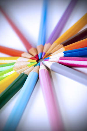 Close up of many colored pencils isolated photo