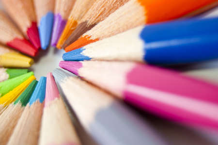 Close up of many colored pencils isolated Stock Photo - 7281043