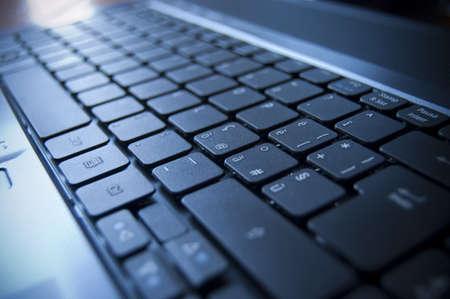 Close up su una tastiera nera di un computer portatile  Archivio Fotografico