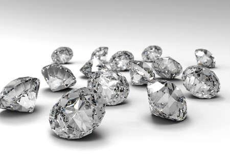 白い平面上に分離されて多くのダイヤモンド