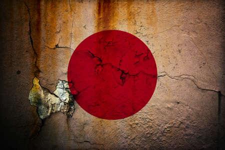 日本の古いグランジ フラグ 写真素材