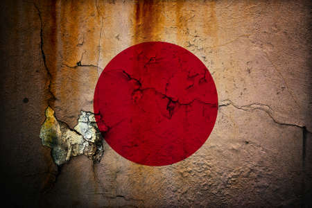 An old grunge flag of Japan state photo