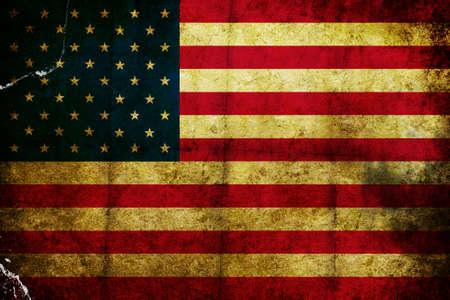 グランジの傷し、アメリカの国旗を燃やした 写真素材