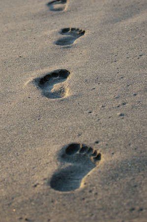 Close up on footprints on a  golden beach photo