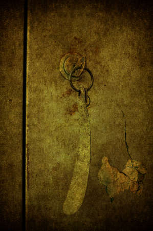 A grunge door closed with the key photo