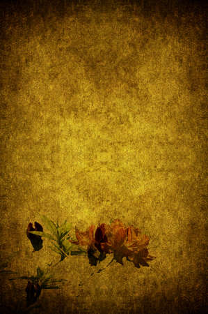ornated: A grunge paper ornated with flowers Stock Photo