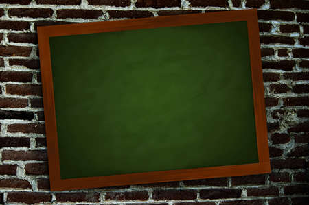 A green chalkboard in a frame of wood on a wall Stock Photo - 7725260