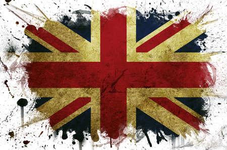britain flag: Una bandera de Gran Breta�a con un borde pintado de blanco