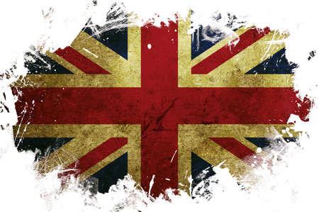 A great britain flag with a painted white border photo