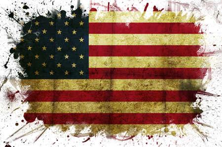 Una bandiera USA con un bordo bianco verniciato Archivio Fotografico