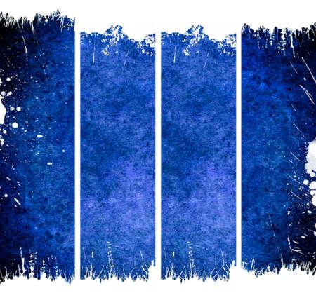 Four vertical blue banners vith cracks photo