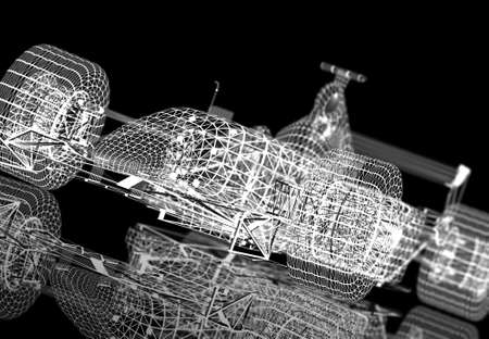 one to one: A white formula race car wireframe on a black background