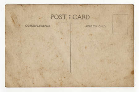 Reverse side of an old grunge postcard photo