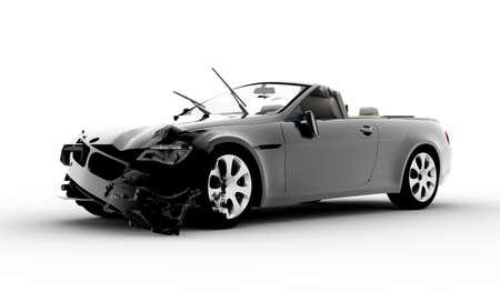 白い背景上に分離されて黒の車の事故