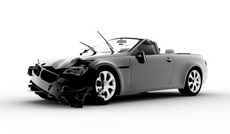 damage: A black car accident isolated on white background