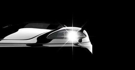 prestige: A modern and elegant black car illuminated Stock Photo