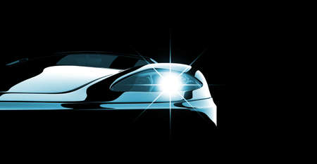 照らされたモダンでエレガントな黒の車
