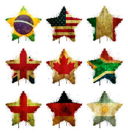 Nine flag of states in grunge stars photo