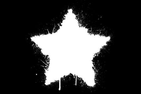 ink stain: A white splatter star isolated on a black background
