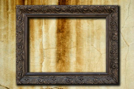 A vintage golden frame on a grunge concrete wall Stock Photo - 8017639