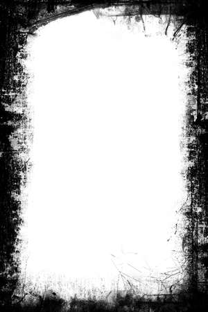 distressed: A black and white grunge frame with white background Stock Photo