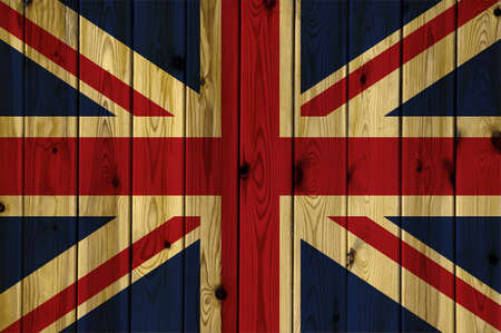 painted wall: A United Kingdom flag painted on a wooden wall