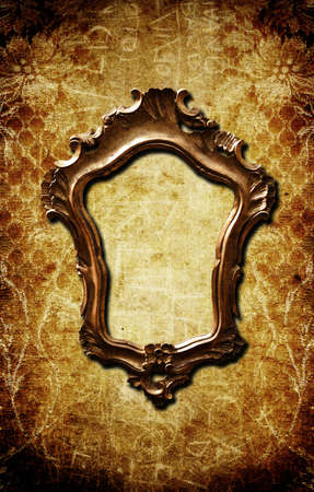 A vintage golden frame on a dark yellow wall Stock Photo - 8017678