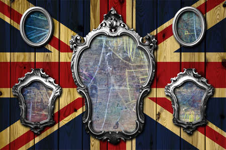 A collection of metal frames on a wooden England flag Stock Photo - 8017668