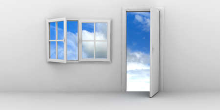 Open window and door on a blue sky photo