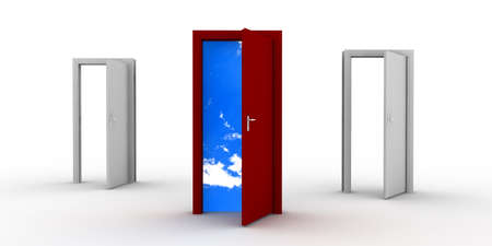 A red door open on the sky and two others doors open Stock Photo - 8135198