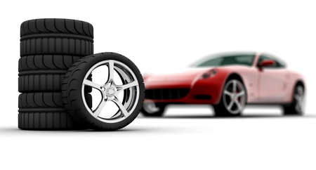 Four wheels isolated on a white background with a red car Stock Photo - 8135255