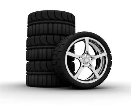 Four wheel isolated on a white background Stock Photo - 8135270
