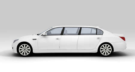 mileage: A white ecological limousine isolated on background