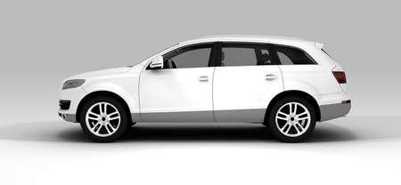 背景に分離した白い生態学的な車 写真素材