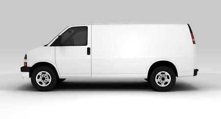 Un furgone bianco isolato su uno sfondo