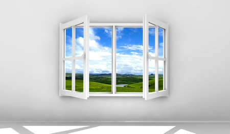 Open white window isolated on a white wall photo