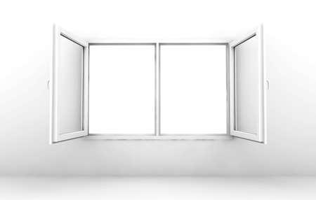 白い壁に分離した白いウィンドウを開く 写真素材