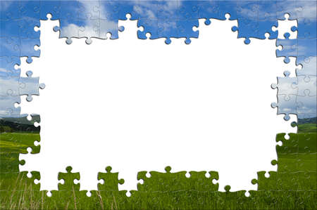 Puzzle with image of a panorama with lost pieces inside photo