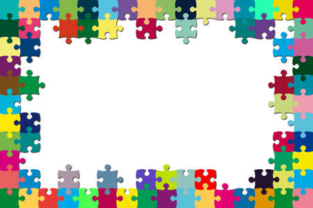 A multicolored puzzle frame with a white background Stock Photo