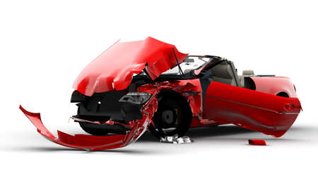Accident of a red car isolated on a white background