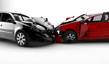 damage: Two cars in an accident isolated on a white background
