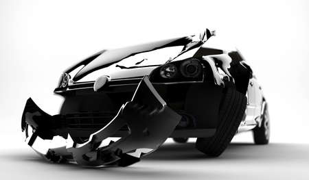 A black accident car isolated on a white background Stock Photo - 8384202