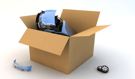 stock car: A blue broken car in a cardboard box
