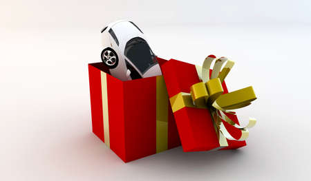 Open red gift with inside a new white car Stock Photo