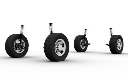 radial tire: Four wheel isolated on a white background Stock Photo