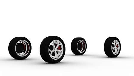 Quattro ruote isolato su uno sfondo bianco Archivio Fotografico